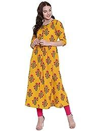 GULMOHAR JAIPUR Women's Cotton A-Line Kurti (Yellow)