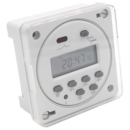 heschen Digital LCD Power Weekly programmierbare Timer Schalter Relais CN101A DC 12V 16Amp SPST mit wasserfester Abdeckung weiß (7 Tage Programmierbare Timer)