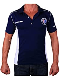 BMW Alpina Polo Camiseta Logotipo del Bordado Bordar Embroided Collar Azul algodón