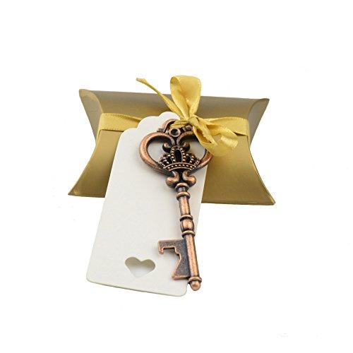 Makhry Hochzeitsgeschenk-Set, 40-teilig, inkl. Flaschenöffner in Antik-Schlüsselform, Kissenschachtel, Geschenketiketten und Geschenkband (Antike Flasche Party Favor)