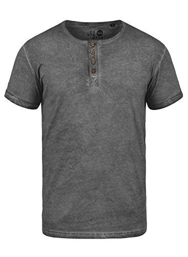 !Solid Tihn Herren T-Shirt Kurzarm Shirt mit Grandad-Ausschnitt aus 100% Baumwolle, Größe:L, Farbe:Dark Grey (2890)