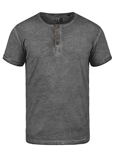 !Solid Tihn Herren T-Shirt Kurzarm Shirt mit Grandad-Ausschnitt aus 100{e513c6d692a8949cec1a7eecf9049cb5e898ddebdf981b2ed02dcb25c62264e3} Baumwolle, Größe:L, Farbe:Dark Grey (2890)