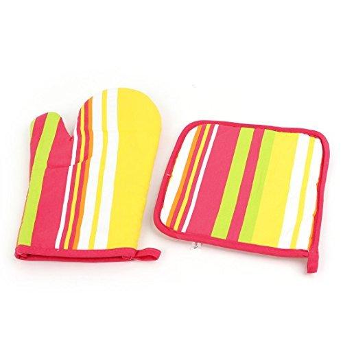 Streifen-Muster Mikrowelle Ofen Mitt Handschuhe Mehrfarbige w Mat
