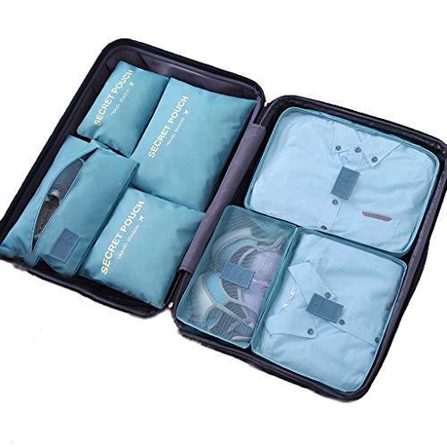 DoGeek Kleidertaschen Packing Cubes Satz von 7 Reise Kleidertaschen Verpackungswürfel organizer Ideal für Seesäcke, Handgepäck und Rucksäcke-Grau (See Blau, 7pcs)