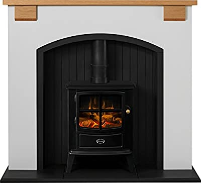 Adam Vermont Stove Suite in Cream with Dimplex Brayford Electric Stove in Black, 48 Inch