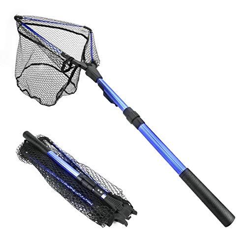 Powcan Kescher Angeln, Fliegen-Fischen-Dreieck Brail Kescher Bewegliche Kescher Netz, Angelkescher, Faltbare Leichte Net Nylon Fischernetz Aluminium Rahmen (Blau) -