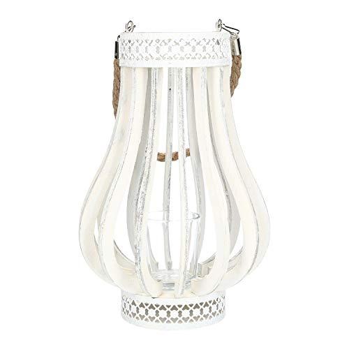 AmaCasa Windlicht mit Glas Holz weiß 27x17cm | Deko Laterne Hochzeit Gartenparty