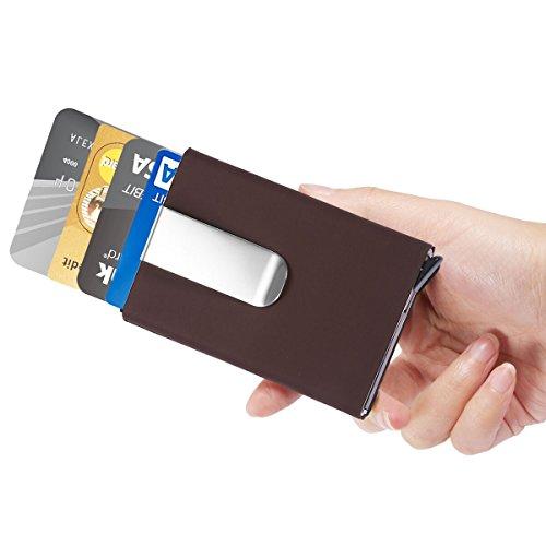 Herren Geldklammern - ManChDa Männer Braun RFID Kreditkarte Halter Automatisch Pop-up Aluminium Blockieren Hartschalenkoffer Geschäft Schlank Mini Brieftasche (Card Wallet Schlank Credit)