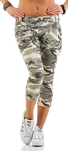 119c561d49 SKUTARI - Pantalón corto - recto - Étnica - para mujer militar Medium