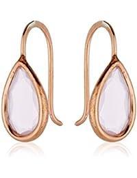 Córdoba Jewels | Pendientes en plata de Ley 925 bañada en oro rosa con piedra semipreciosa. Diseño Dolce Cuarzo Rosa Oro Rosa