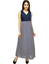 Adyuth Geometric Blue Printed Maxi Dresses