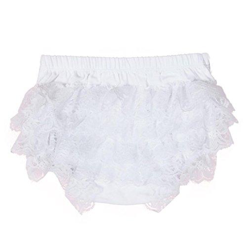 XXYsm Baby Mädchen Schichten Spitzen Trainerhosen Unterwäsche Höschen Solide Lace Kleid Rüsche Hose Pumphose Windel Decken (Weiß, 0-6 Monate) (Weiße Rüschen Höschen)