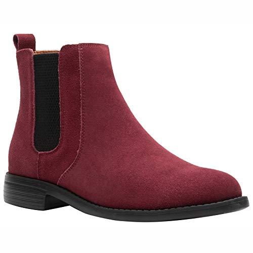 JINBEILE Impermeable Hombres Botas Botines Tobillo Chelsea Boots Cuero Zapatos C-Burdeos/43