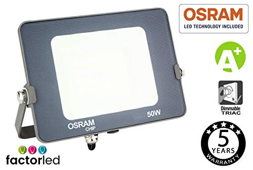 FactorLED Proyector LED 50W Osram, Foco Led Avance SMD Chip OSRAM Exterior,...