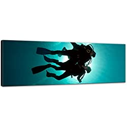 Impression d'art - Plongeur dans la mer Rouge - 160x50 cm - Image sur toile - Vacances, soleil & mer - Égypte - Plongée en mer Rouge