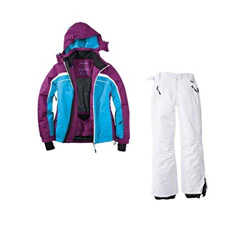 Skianzug 2tlg. Funktioneller Skianzug Für Damen Gr. 42 M-13 Farbe. Blau-Violett-Weiß Schneeanzug