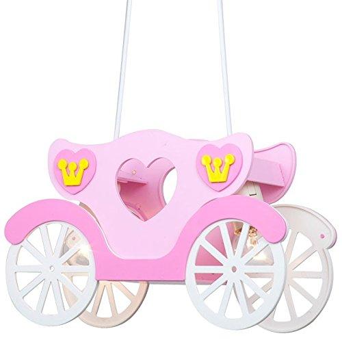 LED 14 Watt Kinder Deckenleuchte Mädchen Hängeleuchte rosa Prinzessinnenkutsche
