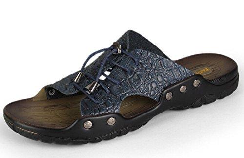 Men's Leather Crocodile Pattern Beach Slippers blue