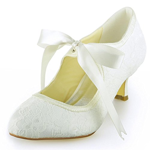 Jia Bridal 140311 Lace Satin Low Heel Closed Toe Prom Party Dance Wedding Shoes Wommen Pumps Ivory 4 UK EU 37