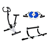 Bicycle Exercise and Slimming from Fitness World, Silver, CF-937A With Rotating tablet with two hands for balance for exercises With Iron Gym Total Upper Body Work Bar
