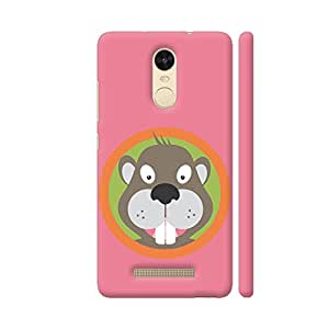 Colorpur Redmi Note 3 Cover - Cute Beaver Head With Orange Circle Printed Back Case