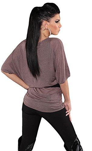 En maille fine pour femme pull-over long en forme de chauve-souris look einehitsgröße (32 à 38) Marron - Cappuccino