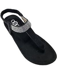 OOG Sommer Sandale Strassstein Damen Schuh Sandaletten Antirusch Dünne Riemen Gepolsterte Sohle (40, Schwarz)