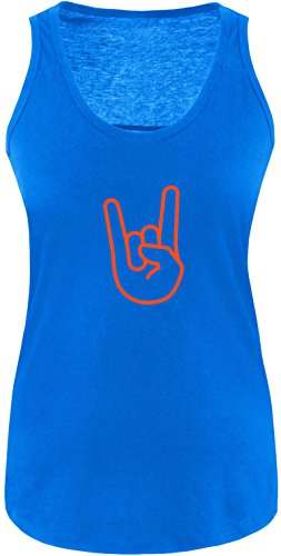 EZYshirt® Rock Hand Damen Tanktop Royal/ Orange