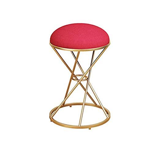 Home Vanity Hocker Beauty Hocker Schminktisch Hocker Make-Up Dressing Chair Eisen Schuhhocker (Rot),Red