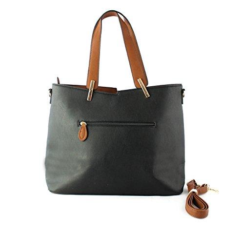 Foxlady lovely di medie dimensioni a mano/tracolla con ciondolo gufo dettaglio 40*30*14cm Black/brown