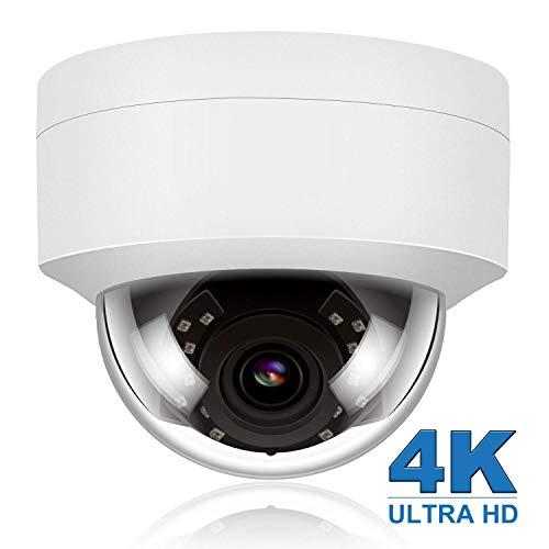 4K/8MP HD POE IP Kamera Outdoor, CCTV IP Überwachungskamera Audio Nachtsicht Bewegungsmelder wasserdichte Onvif Hikvision kompatibel, 2.8mm Linse 108°Weiter Winkel