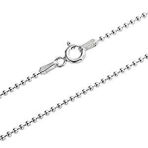 "1mm thick solid sterling silver 925 stamped Italian BALL bead chain necklace chocker bracelet anklet with spring ring clasp jewellery jewelry - inch 6""/15cm"
