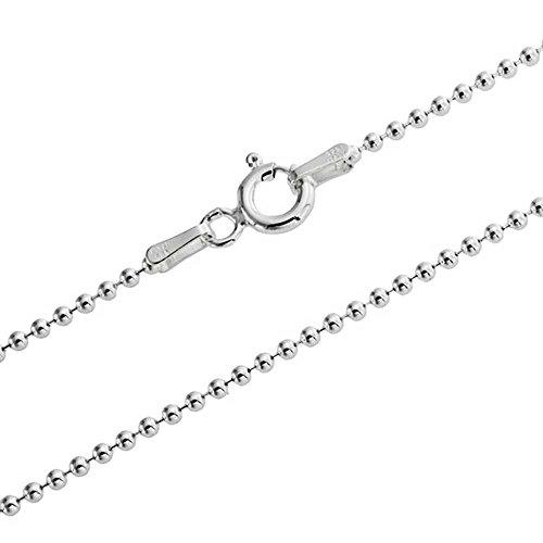 COZMOS Feine Silberkette Kugelkette Halskette Kette Collier Armband Fußkette 925 Silber Sterling 1mm - 15, 20, 25, 30, 35, 40, 45, 50, 55, 60, 65, 70, 75, 80, 85, 90, 95, 100cm