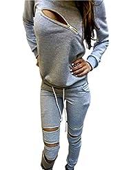Zeagoo® femme casual sport deux pièces ensemble survêtement - sweat-shirts + pantalons - manches longues - aevc zipper