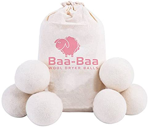 Best Natural Fabric Softener & Energy Saver - 100% Organic Wool XL Tumble Dryer Balls [6-Pack] by Baa-Baa - Reusable New Zealand White Bestsellers for Baby Clothes and Laundry Wash. Unscented & Static Reducer