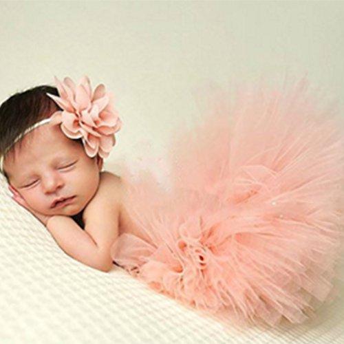 Beaums Nette Prinzessin Neugeborene Fotografie Props Baby-Kostüm-Ausstattung mit Blumen-Stirnband-Baby-Sommer-Kleid