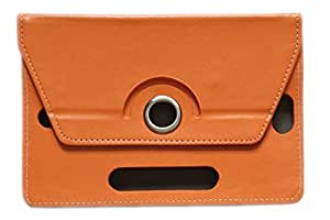 "KANICT® 360° Rotating 7""Inch Tablet Leather Flip Case Cover For Micromax Canvas Tab P702 Plus Front Back Book Stand -Orange"