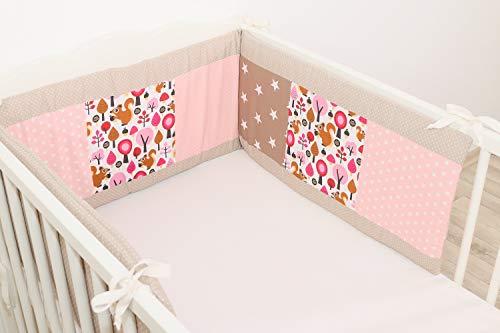 ULLENBOOM ® Nestchen Sand Eichhörnchen (210x30 cm Baby Bettnestchen, Bettumrandung für 140x70 cm Babybett - Kopfbereich, Motiv: Punkte, Sterne)