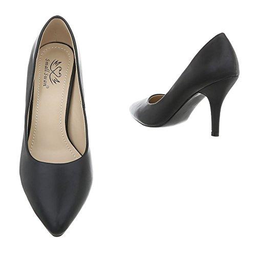 Ital-Design Scarpe da Donna Scarpe Col Tacco Tacco a Spillo Scarpe con Tacco Alto nero LE06