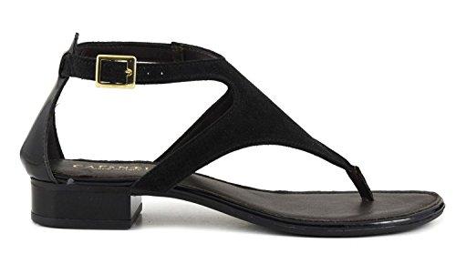 Sandalo infradito Cafè Noir GD926 in crosta e vernice Nero