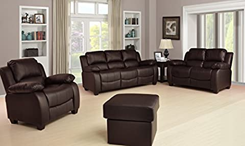Valerie Brown Leather Sofa Suite 3+2+1+Stool Brand New 12 Months warranty FREE DELIVERY TO ENGLAND AND WALES