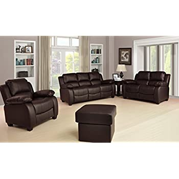 Valerie Brown Leather Sofa Suite 3+2 Seater Brand New 12 Months Warranty  FREE DELIVERY