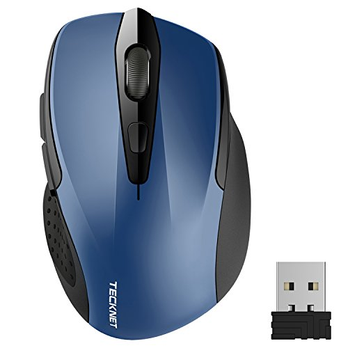 TeckNet Pro 2.4G TRUEWAVE Kabellose Maus Wireless Maus mit Side Control, drei justierbare DPI Level, 2400 DPI, sechs Knöpfe, 24 Monate Batterielaufzeit, Nano Empfänger