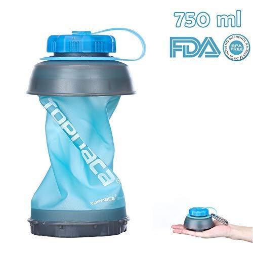 Topnaca Zusammenfaltbare Trinkflasche Klappbare Wasserflasche Faltbare 750 ml, Auslaufsichere Wiederverwendbare Leichtgewichtig Wasserflasche für Camping Rucksackwanderung Reisen Outdoor-Aktivitäten
