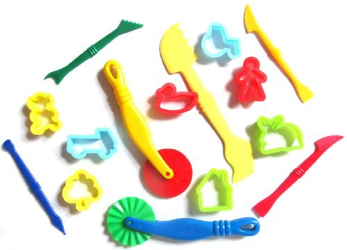 Dough Tools And Cutters 15 Pieces by Kids B Crafty (Dough Cutter Kids)