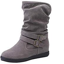 5abdae734f536 Bottes Hautes Femme CIELLTE 2018 Mode Bottes de Neige Hiver Chaussures à  Talon Bottines Wedge Plissé