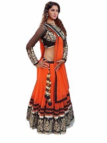 Mahavir Fashion Women's Orange Embroidered Net Georgette Semi-stitched Lehenga Choli (Lehnga_Free Size_Fenta)  available at amazon for Rs.249