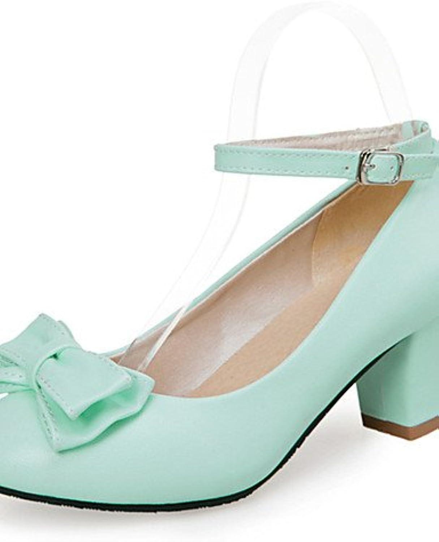 GGX/Damen Schuhe Kunstleder Frühjahr/Sommer/Herbst Heels Heels Hochzeit/Kleid/Casual Chunky Ferse bowknotblackö