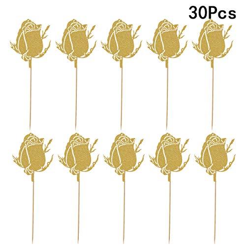 Blumen-Kuchen-Deckel Rose Flower Cupcake Toppers Geburtstag Party Picks Kuchen Blume Dekoration (Gold) ()