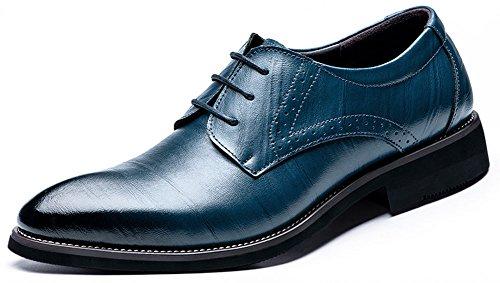 Anlarach Hommes Classique En Cuir Véritable Lacées Pointues Chaussures Oxford Orteil Bleu